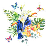 Tropical summer watercolor greeting card with toucan Stock Photo