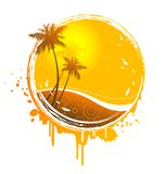 Tropical sun splash. Retro tropical sun-splash emblem with palmtrees and abstract pattern Royalty Free Stock Images
