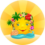 Tropical Sun in a wreath of flowers. Tropical sun, in a wreath of flowers and blue ocean waves Stock Photo