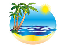 Tropical sunny beach vector illustration