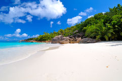 Tropical sunny beach. Tropical beach, Praslin island, the Seychelles Royalty Free Stock Photo