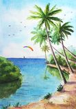 Tropical sunny landscape. Watercolor tropical sunny landscape with ocean, palms, cloudy sky and kitesurfer for background Stock Photography