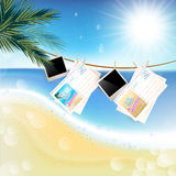Tropical Sunny summer day with hanging photos and Stock Photography