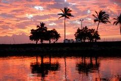 Tropical Sunrise. A beautiful sunrise casts a reflection in the marina Stock Image