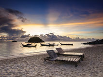 Tropical sunrise. Majestic sunrise on a tropical island Koh Lipe in Thailand Stock Photo