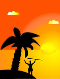 Tropical sunrise. Man on an island watching sunrise Royalty Free Illustration