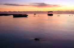 Tropical Sunrise. Sunrise at a tropical beach in Mauritius Royalty Free Stock Photography