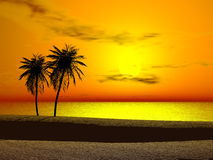 Tropical sunrise. Silhoutte of two palms at sunrise Stock Images