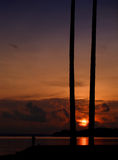 Tropical sunrise at beach royalty free stock photography