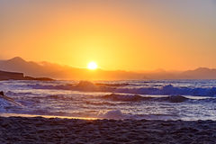 Tropical sunrise at beach royalty free stock photos