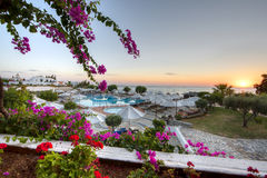 Tropical sunrise at a beach resort. View from a balcony covered in colourful purple bougainvillea across beach umbrellas of a delicate golden tropical sunrise at stock image