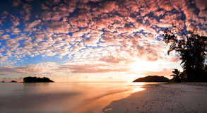 Tropical beach Cote d Or at sunset, Seychelles royalty free stock images
