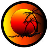 Tropical Sunrise Graphic. Tropical sunrise and palm tree illustration Royalty Free Stock Photo