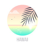Tropical Sunrise. Illustration of tropical sunrise over the sea with palm tree. EPS 10. RGB. Transparencies Stock Photos