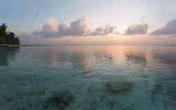 Tropical sunrise. Near the island beach at Maldives Stock Image