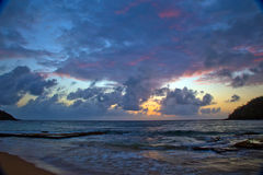Tropical Sunrise over the Ocean. Early morning sunrise in Kauai, Hawaii Stock Image