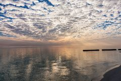 Sunrise sky with cumulus clouds Royalty Free Stock Photo