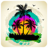 Tropical sunset. Tropical abstract background with palms Stock Photo