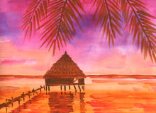 Tropical Sunset Royalty Free Stock Photo