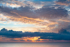 Tropical Sunset. MWS: Golden sunset over the tropical Fijian sea - Golden & salmon hues Royalty Free Stock Image
