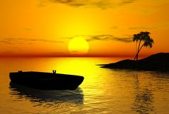 Tropical Sunset. Digital render of a tropical island and drifting rowing boat at sunset royalty free illustration