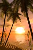 Tropical sunset. 3d render of a wonderful tropical sunset Royalty Free Stock Photo
