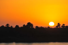 Tropical sunset. Sunset in Nile river, Egypt Royalty Free Stock Images