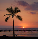 Tropical Sunset. At sea stock image