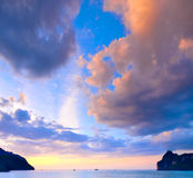 Tropical sunset. Amazing sunset on a tropical beach in Thailand stock photos