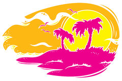Tropical Sunset. Vector drawing of a tropical sunset with palm trees. Only three colors used stock illustration