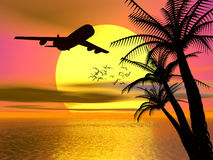 Tropical sunset with airplane. Royalty Free Stock Image