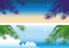 Tropical sunset banners Stock Image