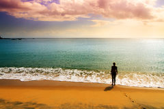Tropical sunset beach Royalty Free Stock Photography