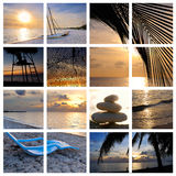 Tropical Sunset Beach Collage Stock Photo