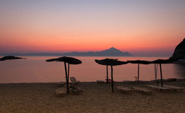 Tropical sunset. Tropical beach sunset in Greece Stock Image