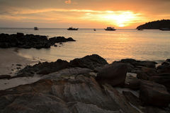 Tropical sunset on the beach at Koh Lipe island Stock Image
