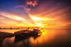 Tropical sunset on the beach. Natural background and landscape. Pattaya Thailand royalty free stock image