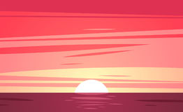 A Tropical sunset beach. Vector illustration Stock Images