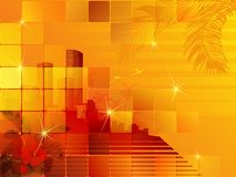 Tropical sunset cityscape Royalty Free Stock Image
