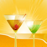 Tropical sunset and cocktails Royalty Free Stock Images