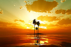Tropical sunset royalty free illustration