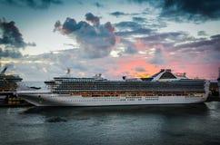 Tropical Sunset and Cruise Ship Stock Photos