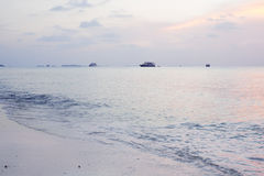 Tropical sunset. Tropical evening and boats at Maldives Stock Photography