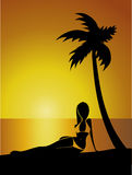 Tropical Sunset with Girl. Silhouette under the palm tree, vector illustration Royalty Free Stock Photo
