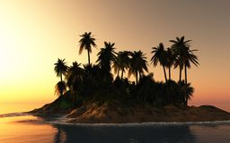 Tropical Sunset Island Royalty Free Stock Photos