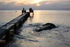 Tropical sunset. Long beach pier. Phu Quoc. Vietnam Stock Photos