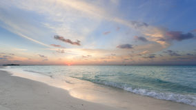Tropical sunset. Near the island beach at Maldives Royalty Free Stock Photography