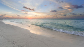 Tropical sunset. Near the island beach at Maldives Royalty Free Stock Photos