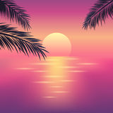 Tropical sunset on the ocean. With palm trees. Summer background. Vector illustration for design of poster, invitation flyer or web banner design vector illustration