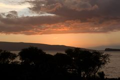 Tropical Sunset over beach in Maui Hawaii Stock Images